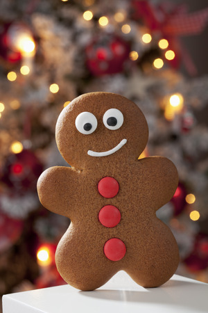 Gingerbread man close up christmas tree in background photo