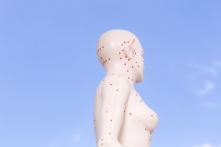 Chinese acupuncture puppet against blue sky photo