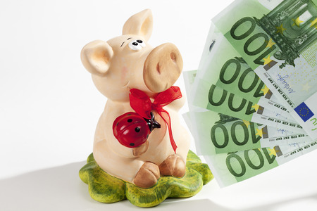 Piggy bank with Euro on white background photo