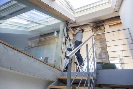renewing: Man at home, renewing, Freiburg, Germany