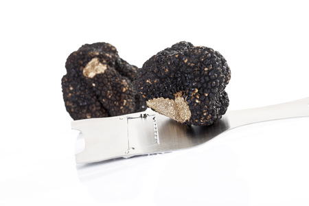 slicer: Black truffle with truffle slicer Stock Photo