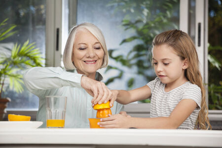 grandmother: Girl and grandmother squeezing fresh juice