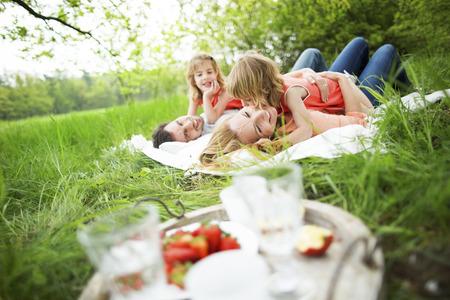 ni�as gemelas: Familia feliz que tiene comida campestre en la naturaleza Foto de archivo