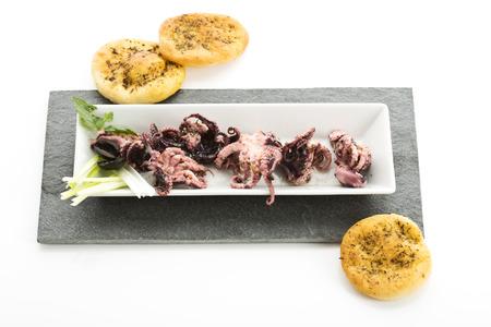 antipasti: Small fried octopuses, antipasti di mare