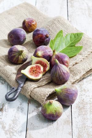 still lifes: Still life with figs on burlap