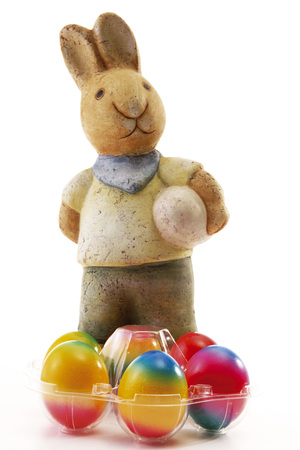 Easter-bunny with colored eggs