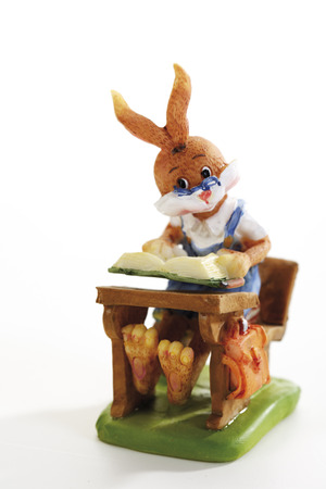 Easter bunny sitting on form Stock Photo