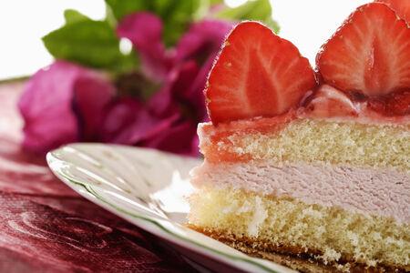 cream on cake: Torta de la fresa crema, corte transversal Foto de archivo