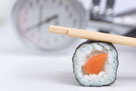 blood pressure gauge: Sushi, blood pressure gauge, healthy eating Stock Photo