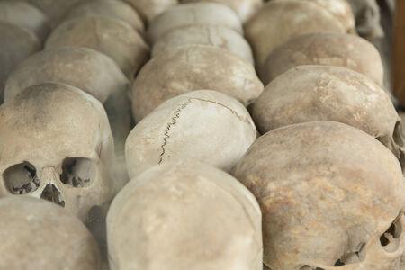 Cambodia, hnom Penh, Choeung Ek Genocidal Center, Skulls Zdjęcie Seryjne