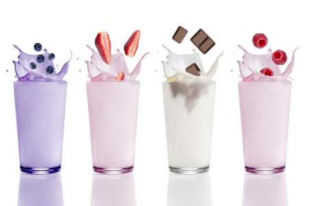Blueberry, strawberry, raspberry and chocolate milk shakes