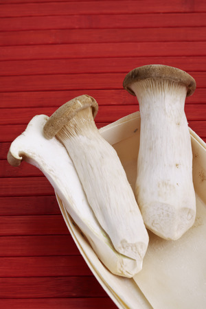 King trumpet mushrooms in wooden punnet photo