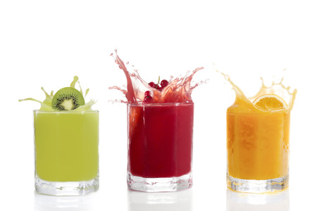 Fruit juice in glasses, Kiwi, currants, orange