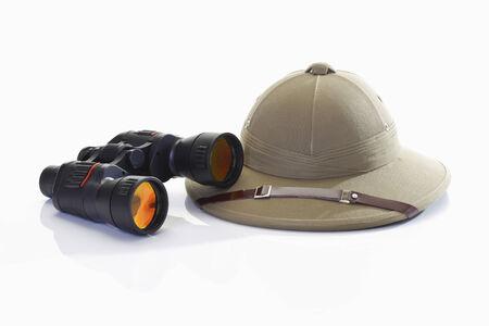 pith: Pith helmet and binoculars