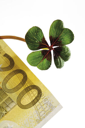 fourleafed: Four-leafed clover on 200 Euro banknote, close-up