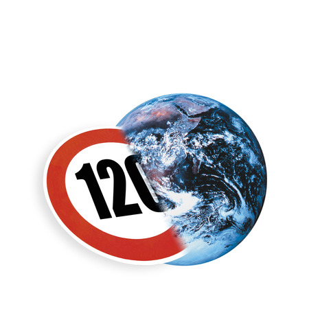 digital composite: Symbol for speed limit and earth, (digital composite)