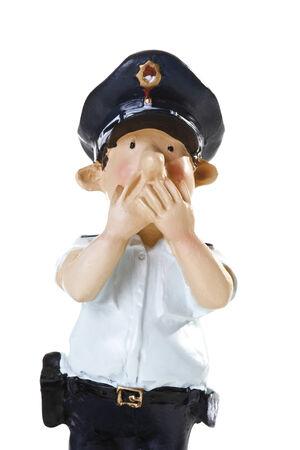 male likeness: Pl�stico Estatuilla de un polic�a, no hablar mal, primer plano