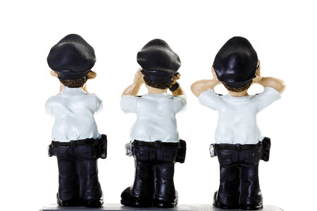 male likeness: Plastic Figurines of  Policemen, rear view