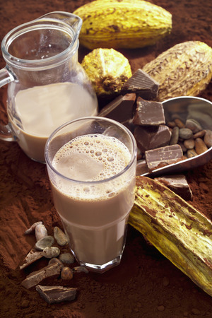 cocoa beans: Glass of hot chocolate, cocoa beans, cocoa powder and cocoa fruits