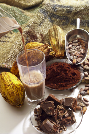 cocoa beans: Pouring hot chocolate in a glass, cocoa beans, cocoa powder and chocolate