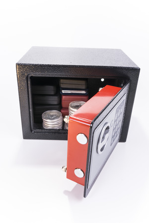 Safe, valuables, coin collection, white background Stock Photo - 35610506