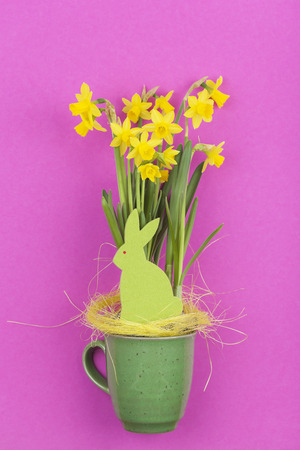 magenta decor: Green felt Easter bunny with daffodils sitting in cup Stock Photo