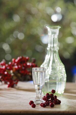 fruit of the spirit: Austria, Salzburg, Rowan berry brandy in glass