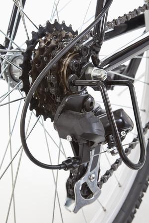 shift: Mountain bike gear shift against white background
