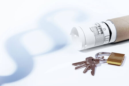 tenancy: Law, paragraph, tenancy law, padlock and keys, building law, construction plan Stock Photo