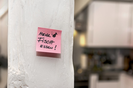 Kitchen, Post-it note, eat more fish
