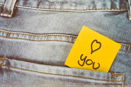 trouser: Memo note I love you, trouser pocket Stock Photo