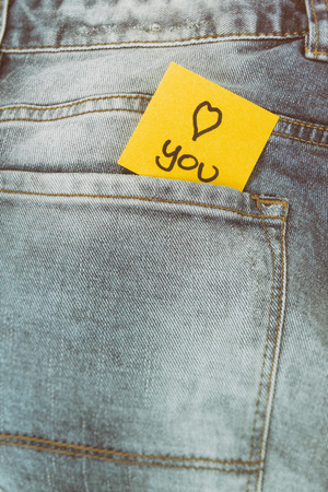 trouser: Memo note I love you, trouser pocket Stock Photo
