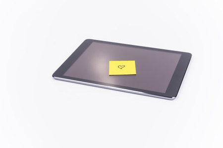 Tablet PC, sticky note heart, love