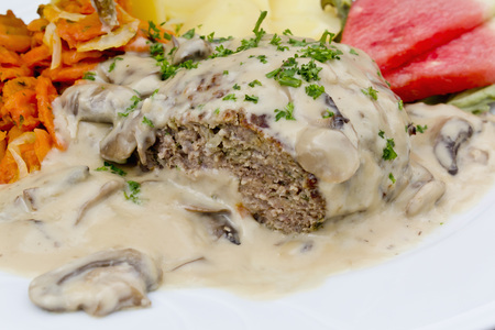 meatloaf: Meatloaf with champignon cream sauce