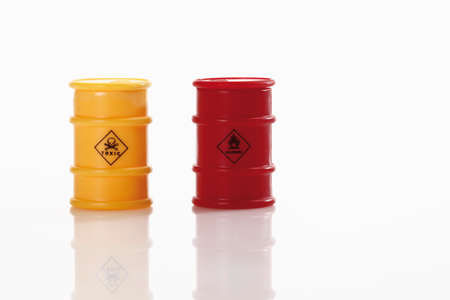 toxin: Two barrels with toxin on white background