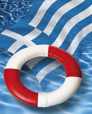life belt: Close up of life belt with greek flag floating on water