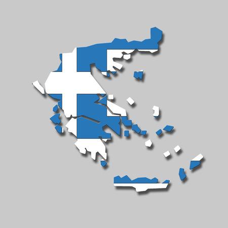 digital composite: Contour of Greece against grey background, digital composite