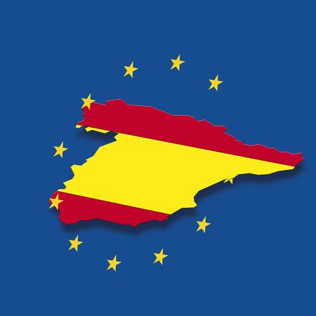 digital composite: Contour of Spain with European Union stars against blue background, digital composite Stock Photo