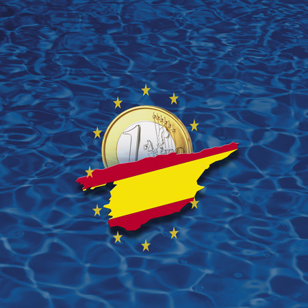 digital composite: Contour of Spain with European Union stars and euro coin against blue background, digital composite