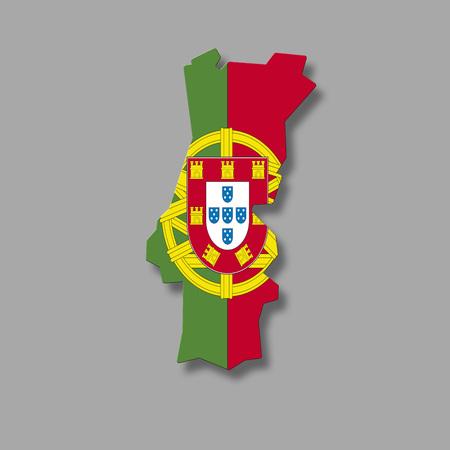 digital composite: Contour of Portugal against grey background, digital composite