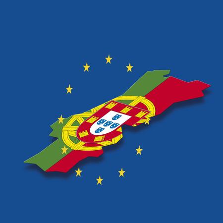 digital composite: Contour of Portugal with European Union stars against blue background, digital composite