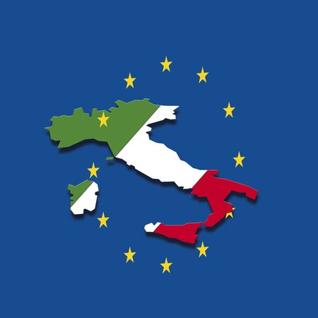 digital composite: Contour of Italy with European Union stars against blue background, digital composite Stock Photo