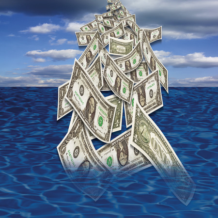 male likeness: US dollar notes falling in sea from sky