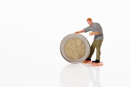 male likeness: Trabajador figurita laminaci�n en moneda de 2 euros