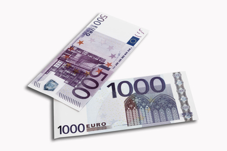 western script: 500 and 1000 Euro notes on white background, close-up