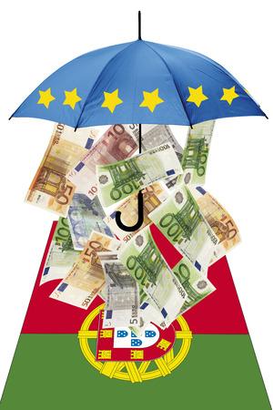 western script: Euro banknotes under umbrella with portuguese flag