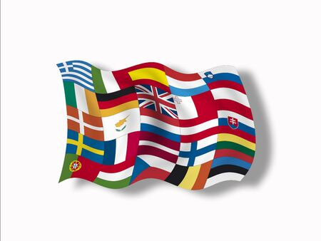 multi national: Variety of european flags, close up