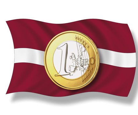western script: Close up of euro coin on latvia flag against white background