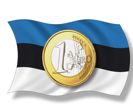 western script: Close up of euro coin on estonian flag against white background