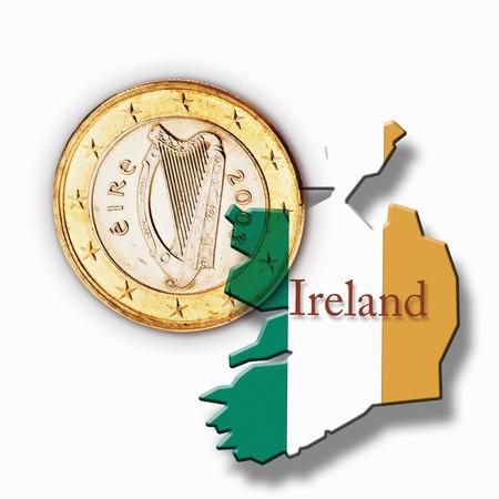 traditionally irish: Euro coin and Irish flag against white background Stock Photo